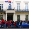 UK Albanians protesting on 19 October 2014 at the Serbian embassy in London.