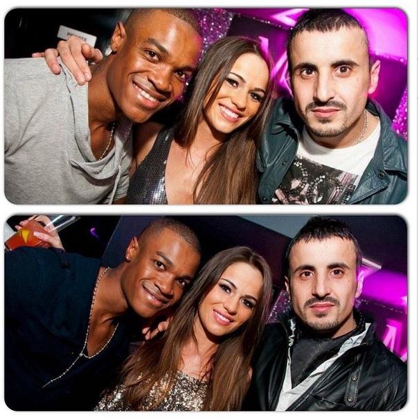 Edmir Plori (right), pictured with Charlotte Metcalfe and her boyfriend, DJ Carlton Delingo