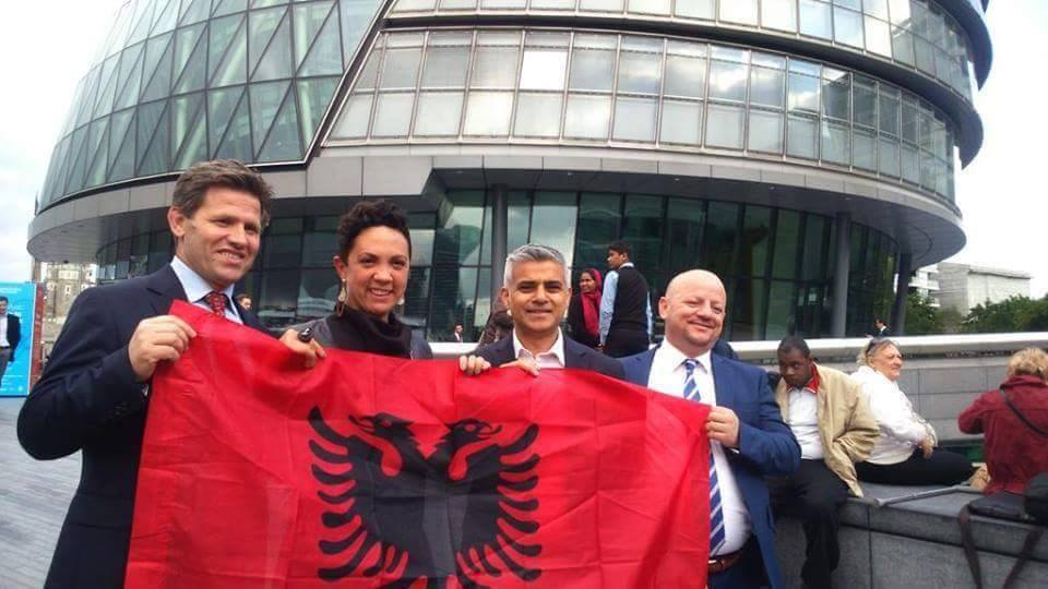 From right to left: Lavdrim Krashi,  Ivana Bartoletti, Labour GLA candidate for Havering and Redbridge, London Mayor Sadiq Khan and Agim Neziri, a distinguished member of the Albanian Community in London